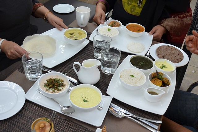 Kumaoni cucumber raita, bhindi raita, appams and chicken ishtew