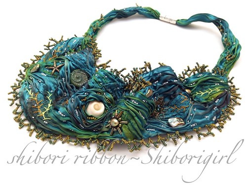 shibori ribbon beaded neckpiece