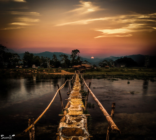 bridge nepal sunset sky sun nature water river nikon kathmandu chitwan mountainrange d5100 nikond5100