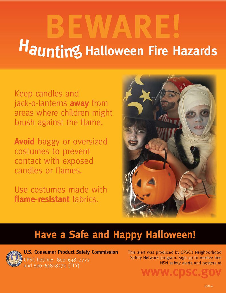 Halloween fire hazards poster