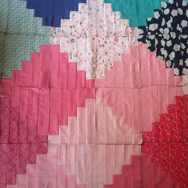 Friendship Diamond Quilt beginnings Pat's NouvElle fabrics!