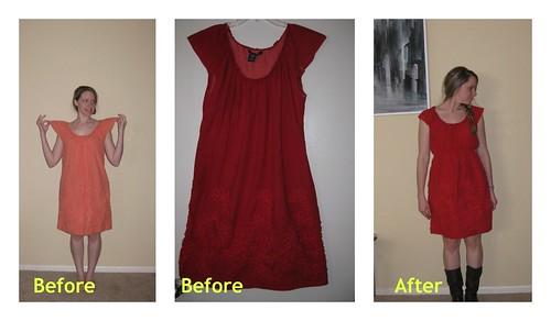 Refashioned peach dress