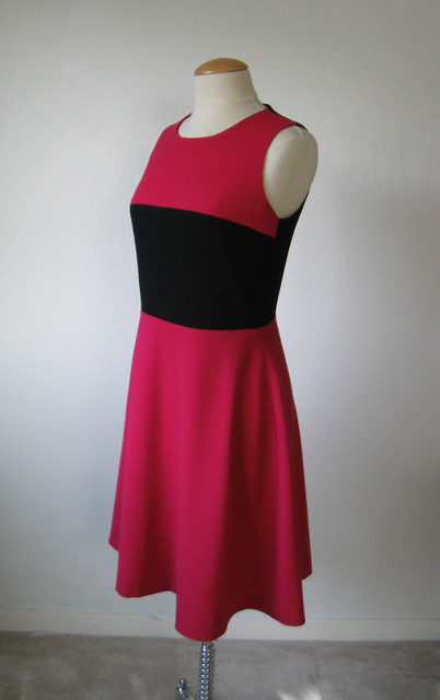 pink black dress side front
