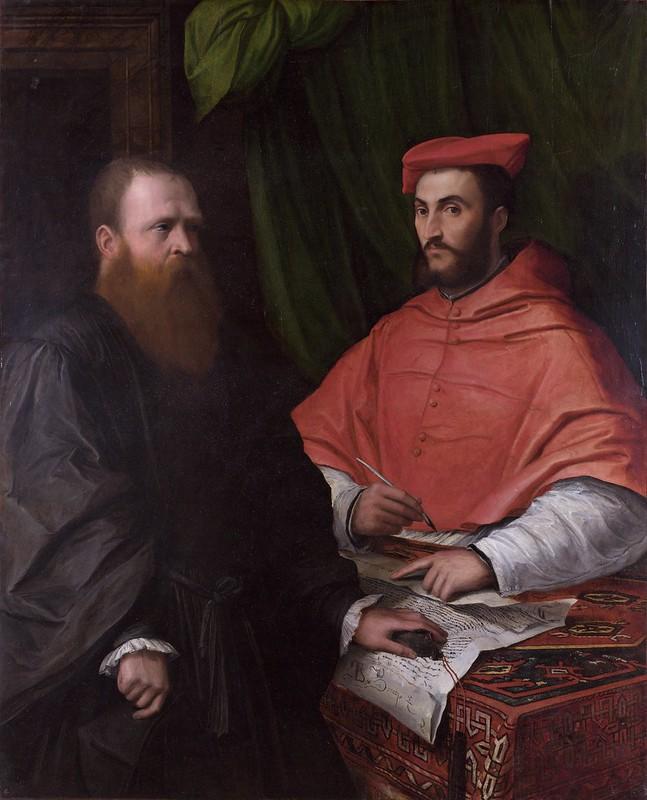 Girolamo da Carpi - Cardinal Ippolito de Medici and Monsignor Mario Bracci (c.1532)