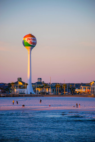 ocean sunset beach water ball pier dock sand watertower