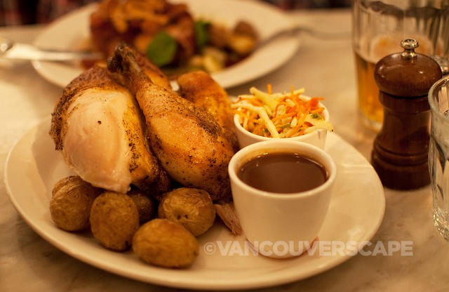 Homer Street Cafe and Bar/Rotisserie half chicken, pee wee potatoes, jus, grainy mustard slaw