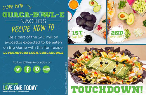 The Hass Avocado Board is gearing up for the Super Bowl. Follow their campaign on Facebook and Twitter using the hashtag #240millionavos. Photo courtesy of the Hass Avocado Board.