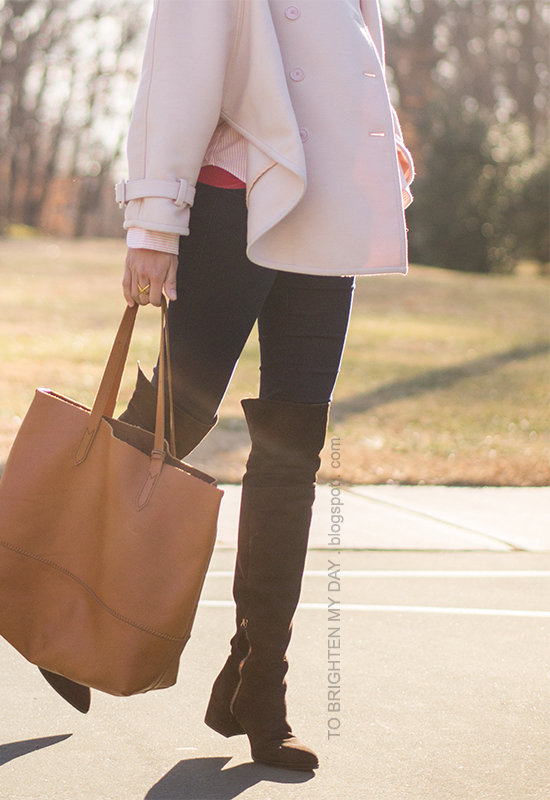 pink trench cape, red turtleneck, pink striped button up shirt, cognac brown tote, brown suede over the knee boots