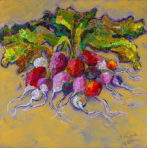 Radishes Collage Painting by Elizabeth St. Hilaire Nelson