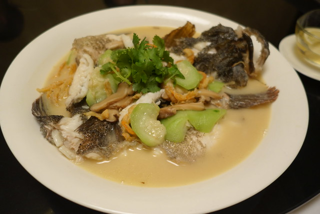 Poached Whole Marble Goby with Hairy Gourd and Dried Shrimp. Chinese New Year 2015. Xin Cuisine