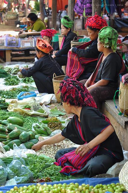 Inle Lake Market - Shan Women Selling Vegetables