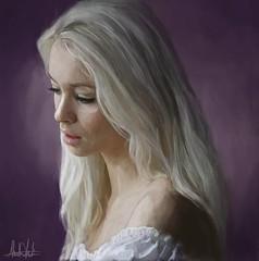 #silverhair#style #portrait #purple #background #beautiful #blonde #beauty #greyhair #grayhair #silver #gray #selfie #fashion #model #art #sexy #lips #painting #Drawing #Sketching #KadisArt #artist