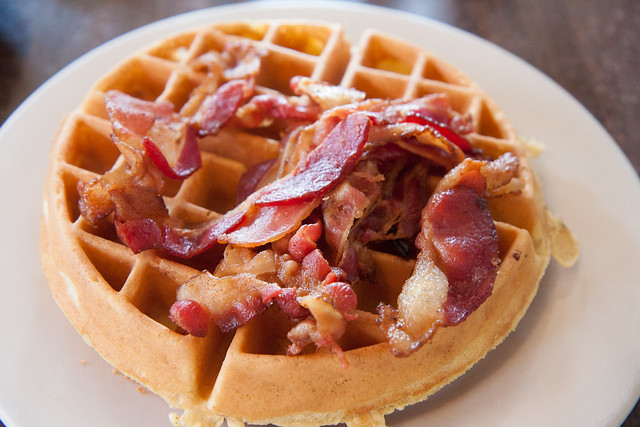 Belgian waffle with bacon, Tom's