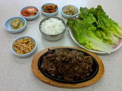 Beef bulgogi (불고기) with banchans