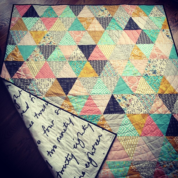 Triangle quilt all done and ready to be shipped--it's a surprise gift! Shhhh!