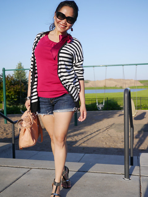 kors cardi - levis shorts - mulberry alexa bag5