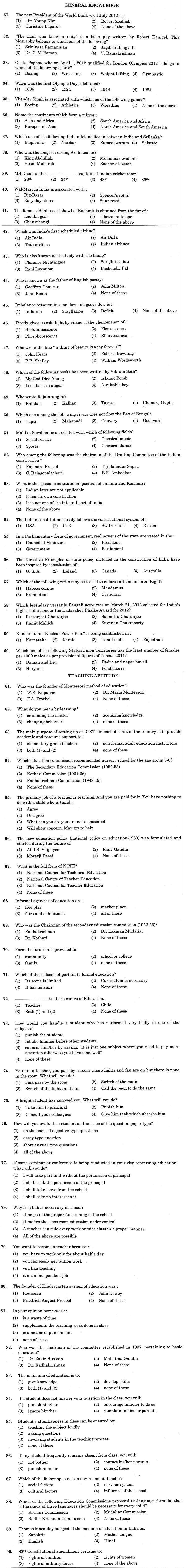 J&K B.Ed. 2012 Question Paper