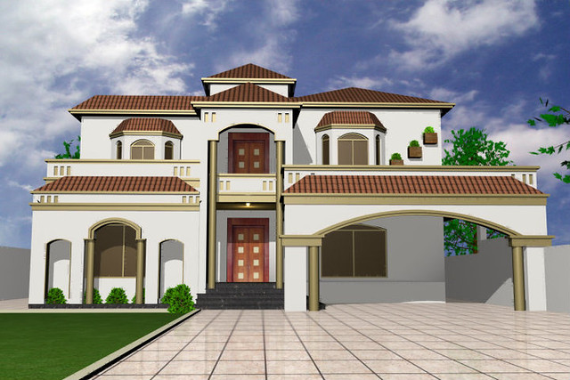 Pakistani house architecture designs for Pakistani new home designs exterior views