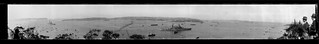 Panorama of Sydney Harbour during the United States Navy's goodwill tour