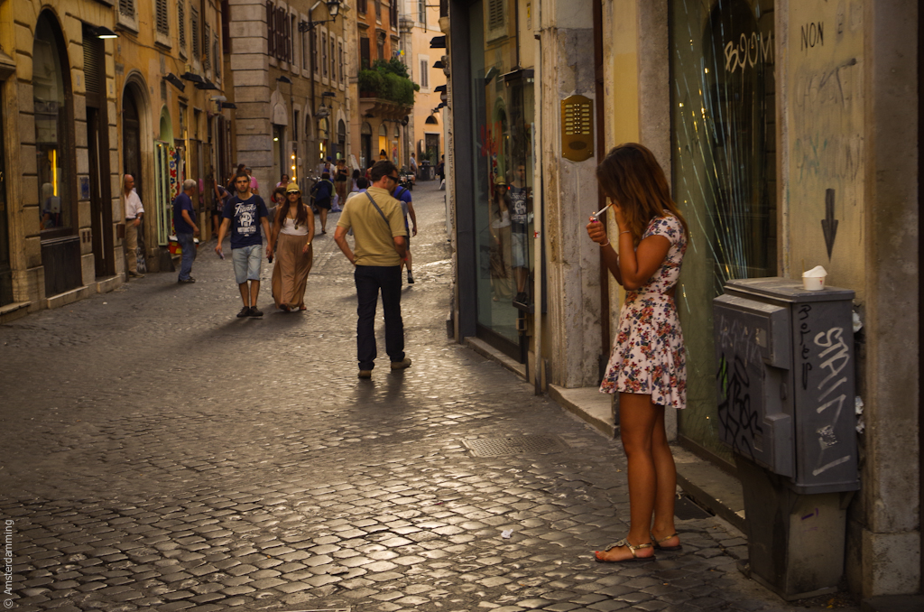 Rome, Woman Lighting a Cigarette