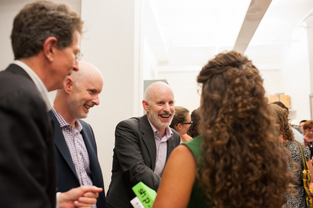 """From left, AAP NYC executive director Bob Balder greets guests with Chris and Bill Sharples of SHoP before their talk, """"SHoP: on the waterfront and other works,"""" at the L. Michael Goldsmith lecture at AAP NYC on July 31."""