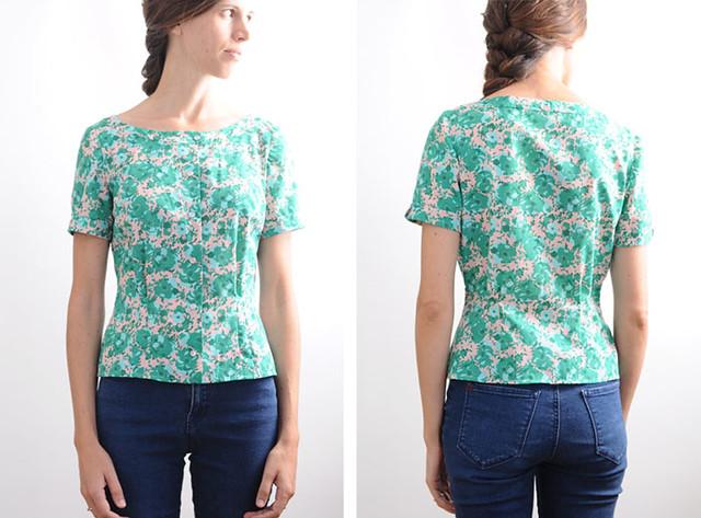 vintage floral blouse remake