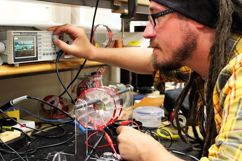 Ben Winstone testing the Mubot technology