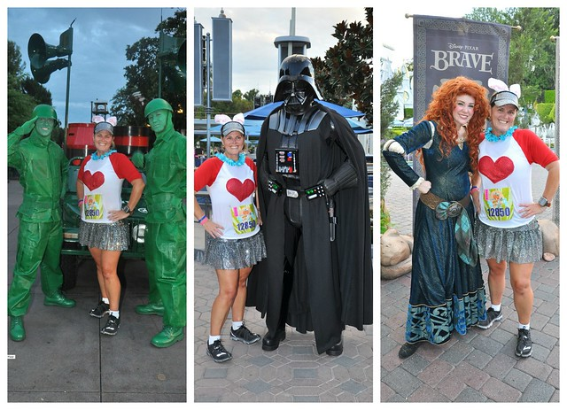The cast of characters that I ran across while running the Disneyland Half Marathon