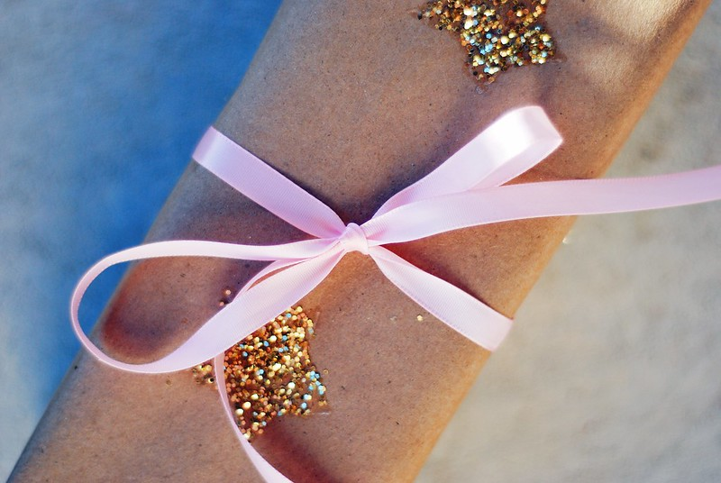 DIY glitter star wrapping paper