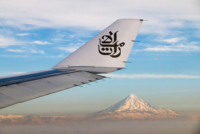 Beautiful Mount Damavand view from the airplane 飛行機から見たダマーヴァンド山