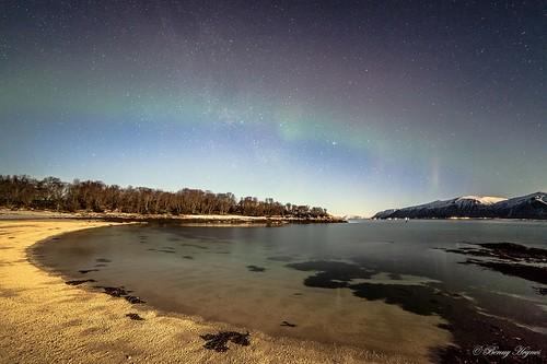 Jan 21. 2014 Stamnes, Sortland in Norway. Around –8 degr cold. Stars and beach, frozen sand.