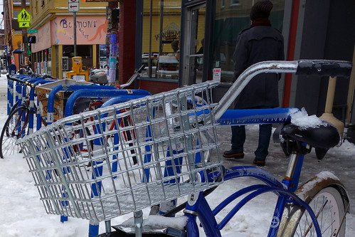 Busy Icy Bike Corral