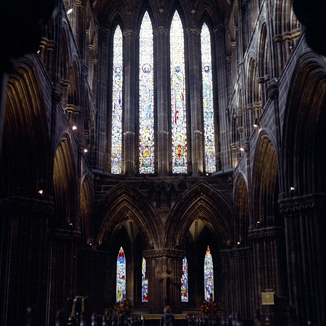 film photograph from inside glasgow cathedral