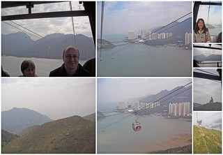 Riding the Ngong Ping cable car.