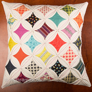 Cathedral Window cushion for Love Patchwork & Quilting mag