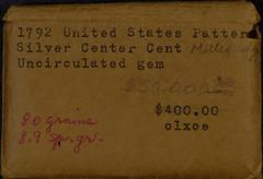Newman 1792 silver center cent 2x2