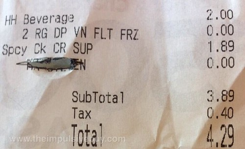 Taco Bell Dr Pepper Vanilla Float Freeze Receipt