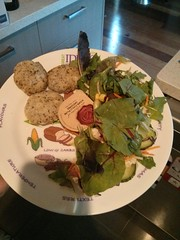 Thai Chicken Cakes and Leafy Salad on a Portion Perfection Plate.