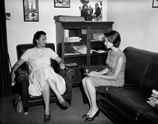 First Lady Jacqueline Kennedy's Press Secretary Pamela Turnure with a Visitor