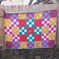 This is a quilt my Grandma made for me. We've used it so much for so many years, it's starting to fall apart. Now I keep it safely on a quilt rack.  She passed away last week and it still doesn't feel quite real. #heirloom #grief