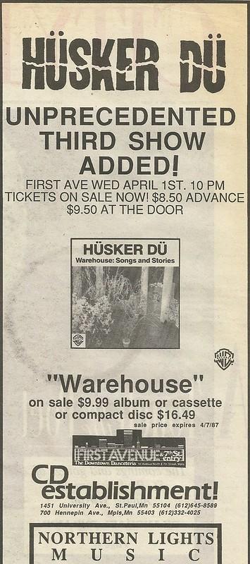 04/01/87 Husker Du @ First Avenue, Minneapolis, MN