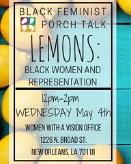 Just to start though -- it is impossible to read this article and not think about and appreciate the organizing work and social justice research praxis folks at Women With a Vision, Inc. of New Orleans have been doing with their Front Porch Research Strat
