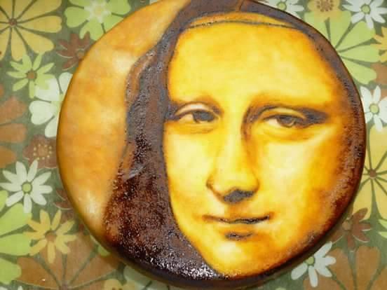 Handpainted Monalisa Cake by Cherie Permalino of My Cake Studio