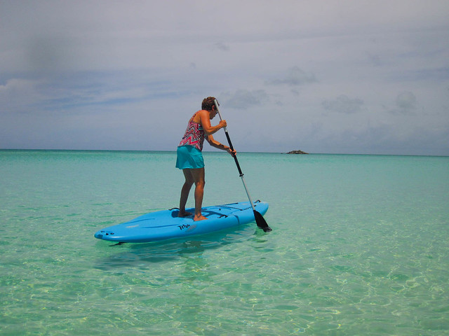 Trying the paddle board