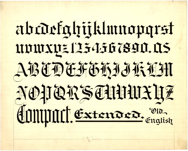 Old English alphabet from Zaner-Bloser Penmanship collection
