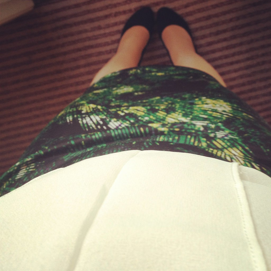 Palm Print Skirt and Cream Blouse