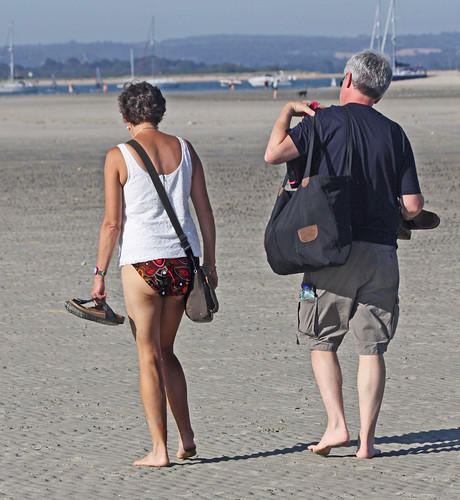 West Wittering - Sept 2012 - Mature Couple Walking on the Beach Candid