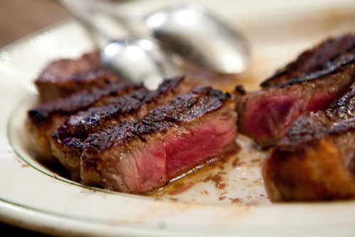 A perfect medium-rare porterhouse steak