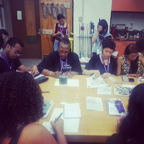 Folks making zines at our #amc2013 #makezines session on Friday, June 21, 2013