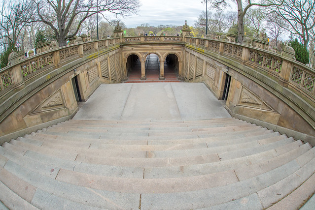 The steps leading down to Bethesda Fountain in New York City